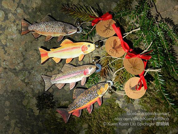 Fishing Salmon Fisherman Christmas Ornament
