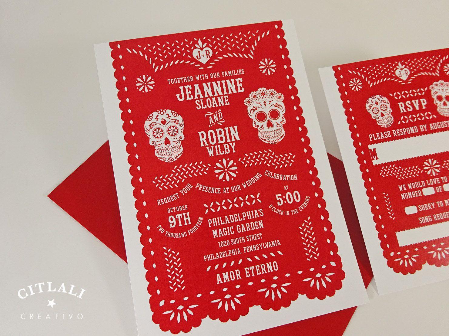 Festive Red Papel Picado & Sugar Skulls Wedding Invitations | Papel ...