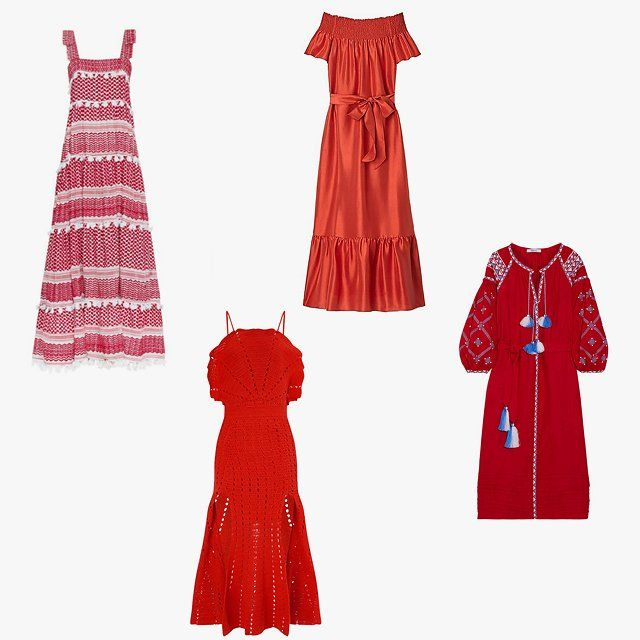 Dodo Bar Or Amal tiered maxi dress, $498, intermixonline.com; Tory Burch Ramona maxi dress, $395, toryburch.com; March11 embroidered linen maxi dress, $1,260, net-a-porter.com; Alice McCall Red Room Is on Fire dress, $305, avenue32.com