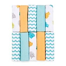 image of Just Bath by Just Born™ Love to Bathe 10-Pack Knit Washcloth in Hippo/Aqua and Orange