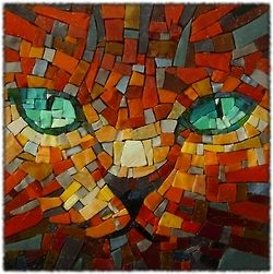 Mosaic cool cat.  Orange with green eyes.