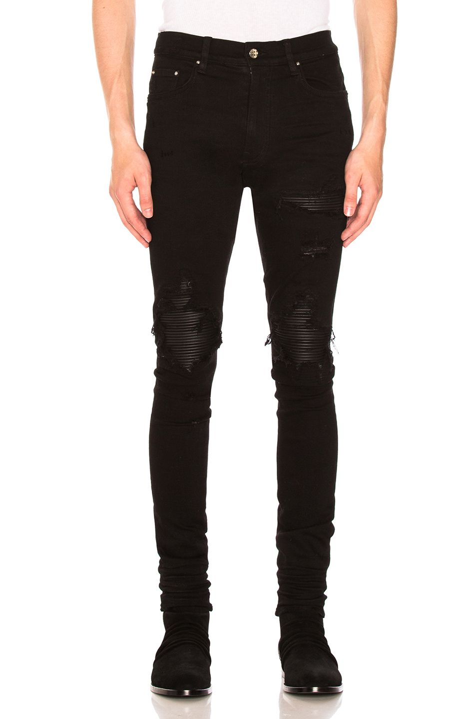 b5639c2f961 Amiri MX1 Leather Patch Skinny Jeans in Black