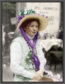 "Militant Suffragette Christabel Pankhurst, originator of the hardball ""Suffragette Strategy"" observed that politicians care MOST about re-election and greatly fear organized opposition.  She ruthlessly threatened EVERY politician in the party-in-power with loss of office and the party with the loss of its majority. British women were voting just six years later! Photo colorized for ""Two Presidential Mistresses and the Battle for Votes-for-Women"" by VA Harrington Hutton. Buy the book!"