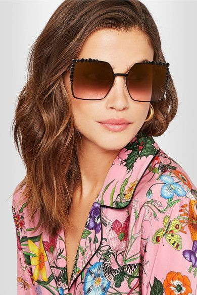 f64f574b98 Fendi - Can Eye embellished square-frame metal sunglasses in 2019 ...