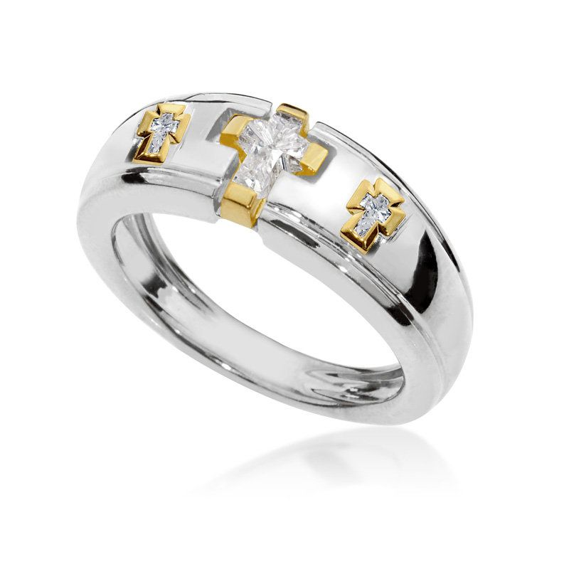 Cross Ring With 0 59 Ct Natural Diamonds Crucifix Jewelry For