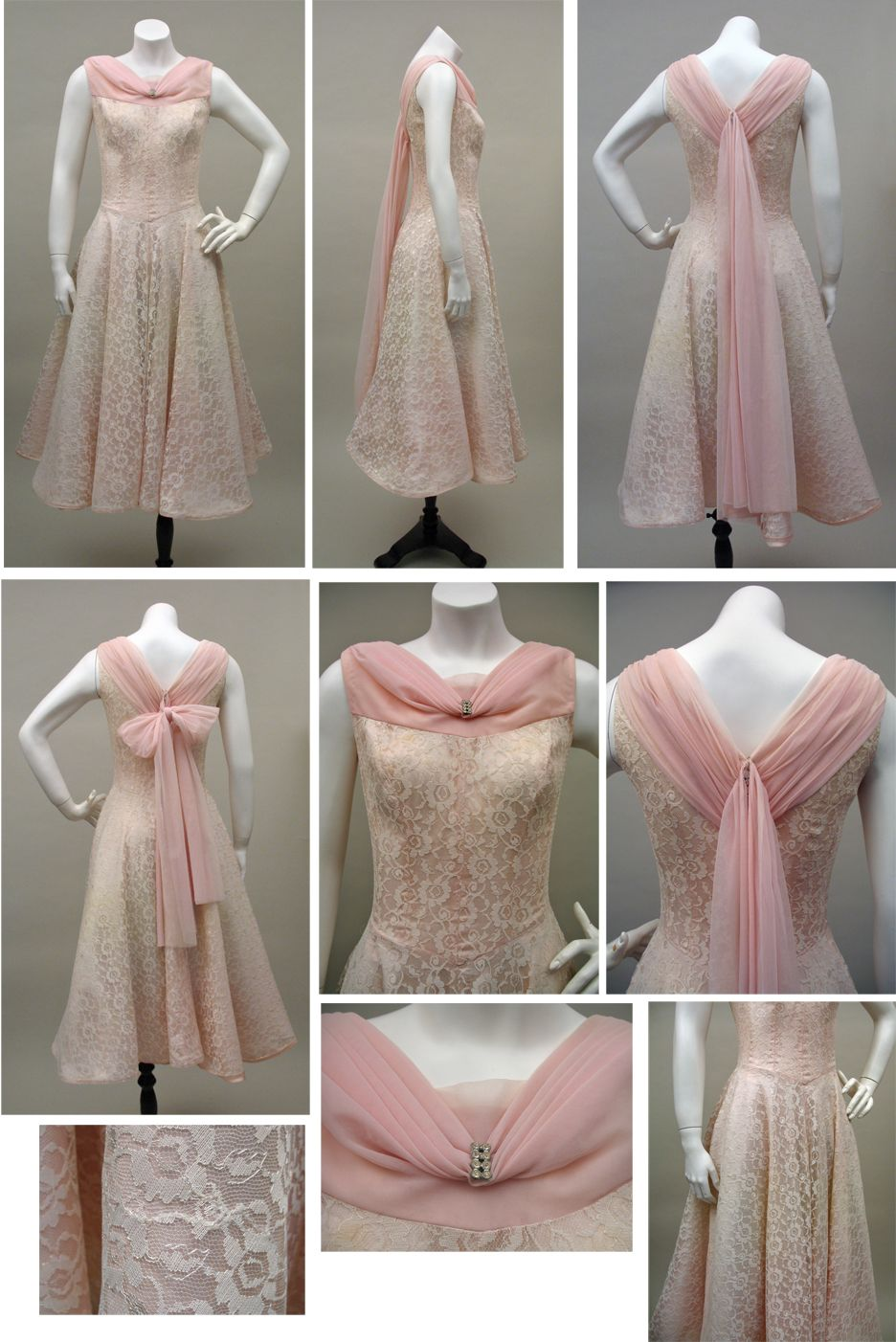 1950s Pink Lace and Taffeta Vintage Party Dress