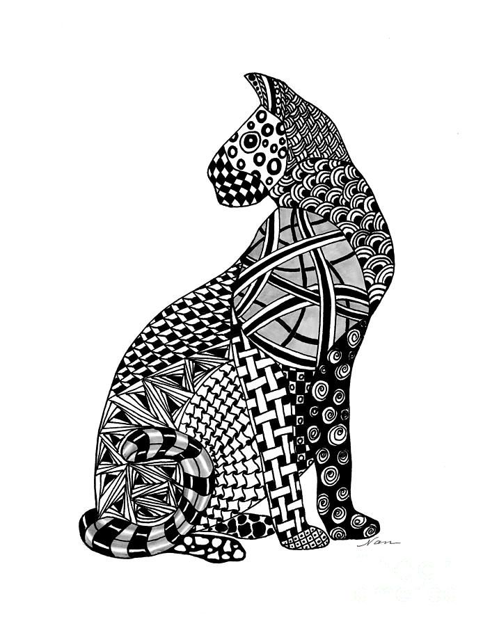 Zentangle Cougar Wild Cat by Nan