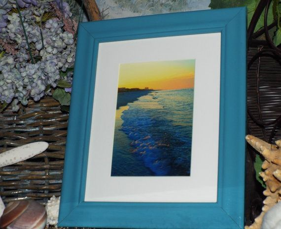 Framed beach photography, Turquoise frame, shabby chic beach ...
