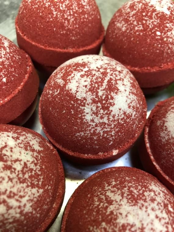 Peppermint Bath Bomb made with Cocoa Butter and Jojoba Oil. Red and White Bath Fizzy. Strong Mint Scent #jojobaoil