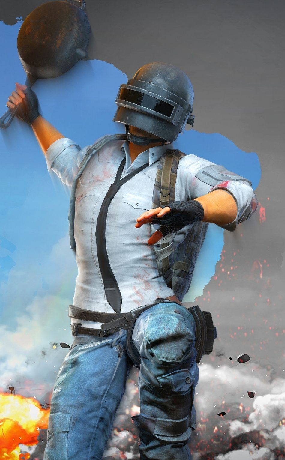 2018 Fan Art Pubg Video Game Artwork Helmet Guy 950x1534