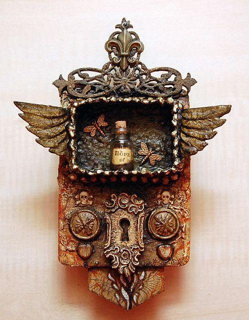 Esparanza, inspired by michael demeng; miniature matchbox shrine.