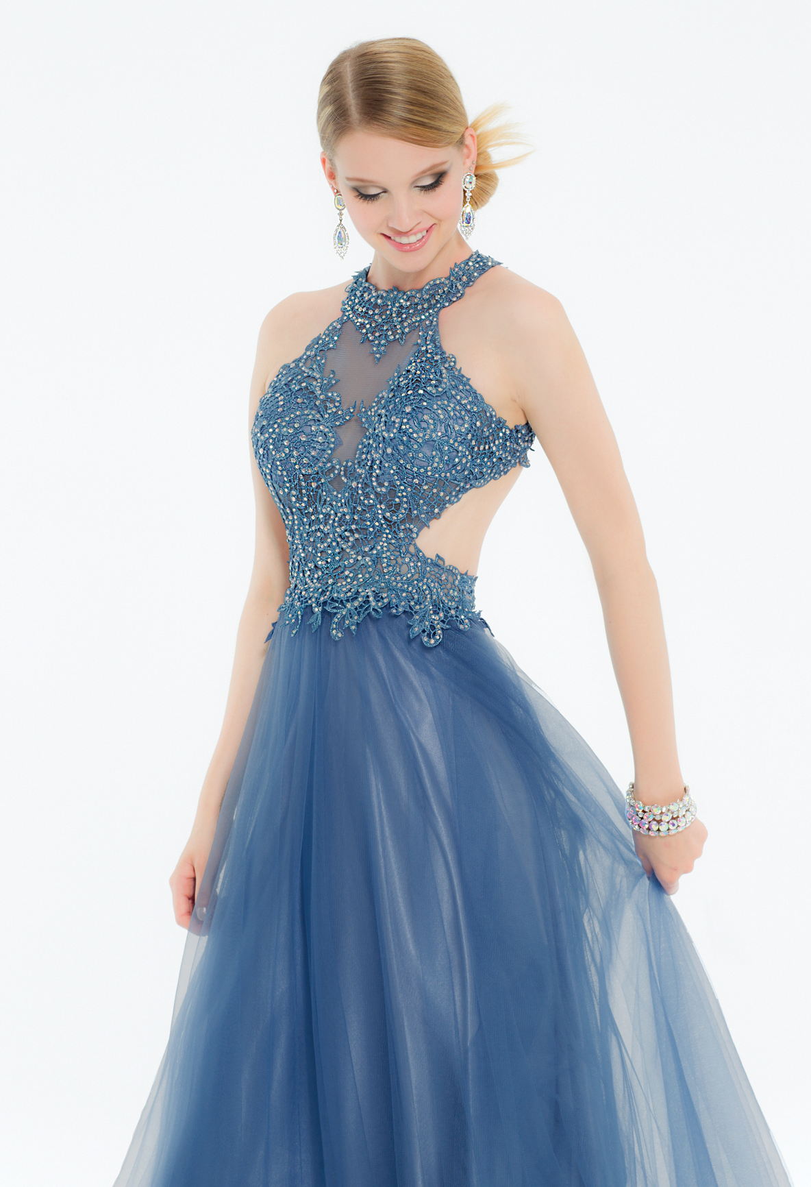 ba453d45bd556 Look like a modern Cinderella in this fancy evening dress! The illusion  halter neckline