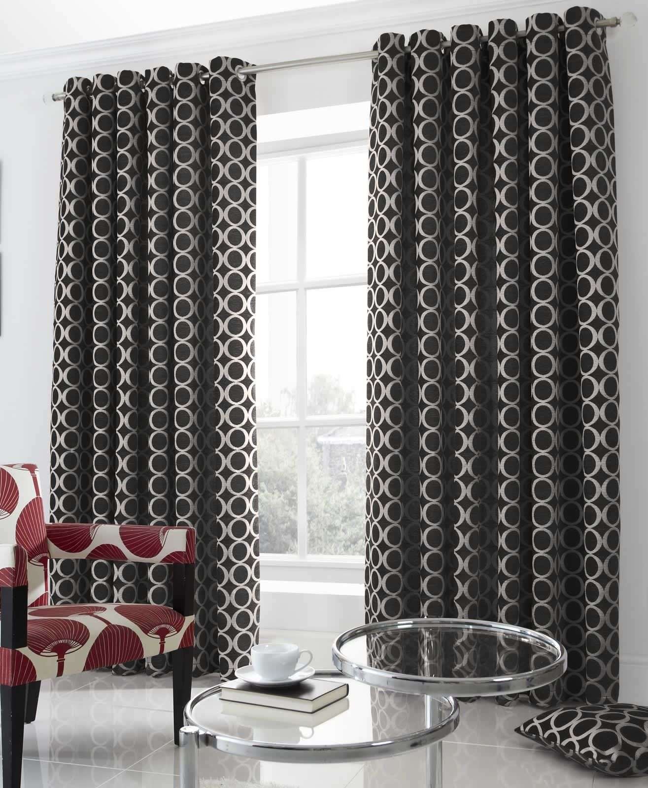 Kitchen Curtains Amazon Co Uk: Black Cream Heavy Weight Lined Eyelet Curtains, Ready Made