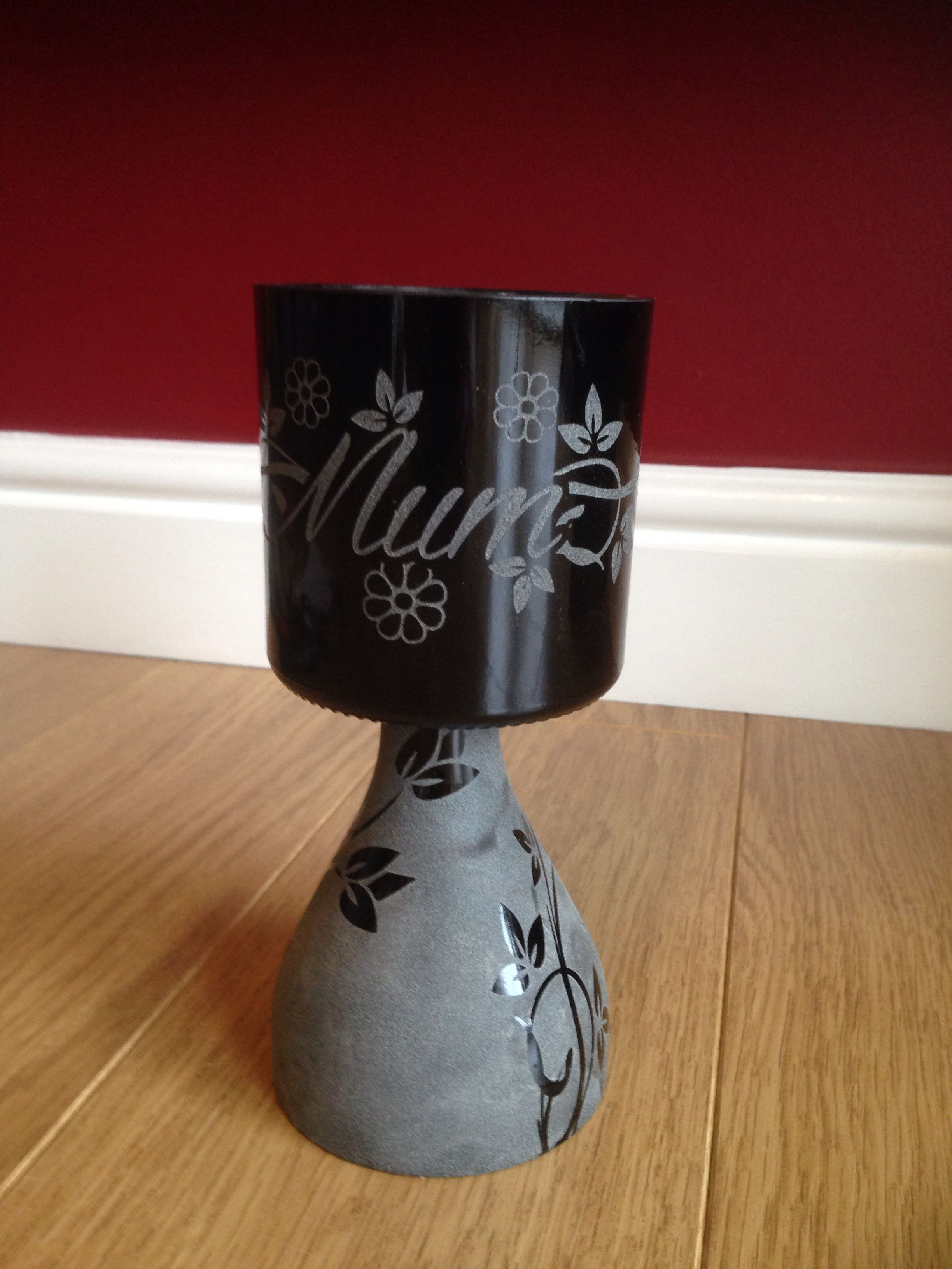 Mother S Day Irish Mist Bottle Candle Holder Etched With A Mum Floral Design Bottle Candle Holder Wine Bottle Candles Wine Bottle Crafts