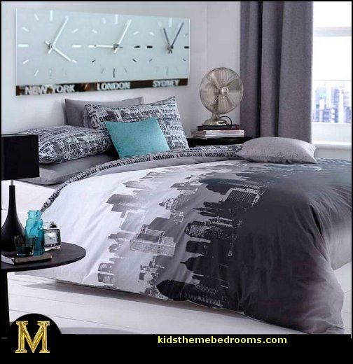 Big city inspired girls bedroom in gray and red decorating theme bedrooms maries manor - Grey themed rooms ...