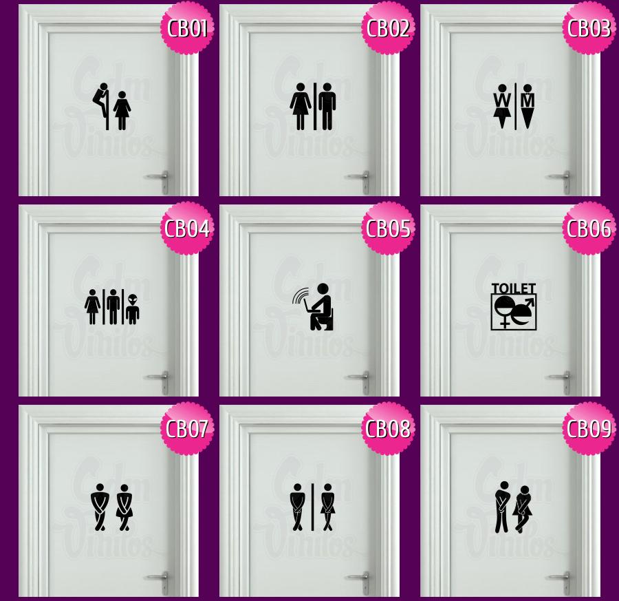 Cartel puerta de ba o en vinilo decoraci n de for Cartel puerta