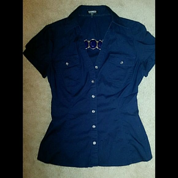 Express Essential Blue/Navy Shirt like New Navy Blue Express Essential Short Sleeve Shirt! Side belts in back! Express Tops
