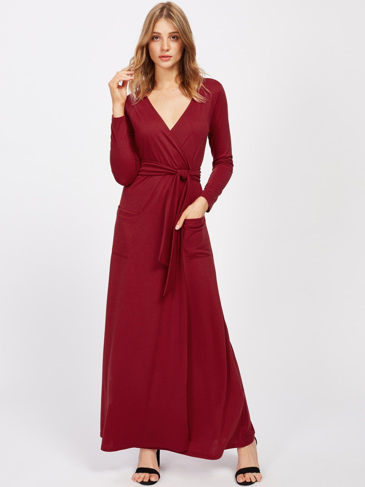 18f990939fc89 Shop Surplice V Neckline Maxi Dress With Self Tie online. SheIn offers  Surplice V Neckline Maxi Dress With Self Tie   more to fit your fashionable  needs.
