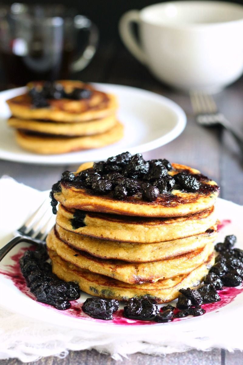 paleo blueberry pancakes with blueberry maple syrup