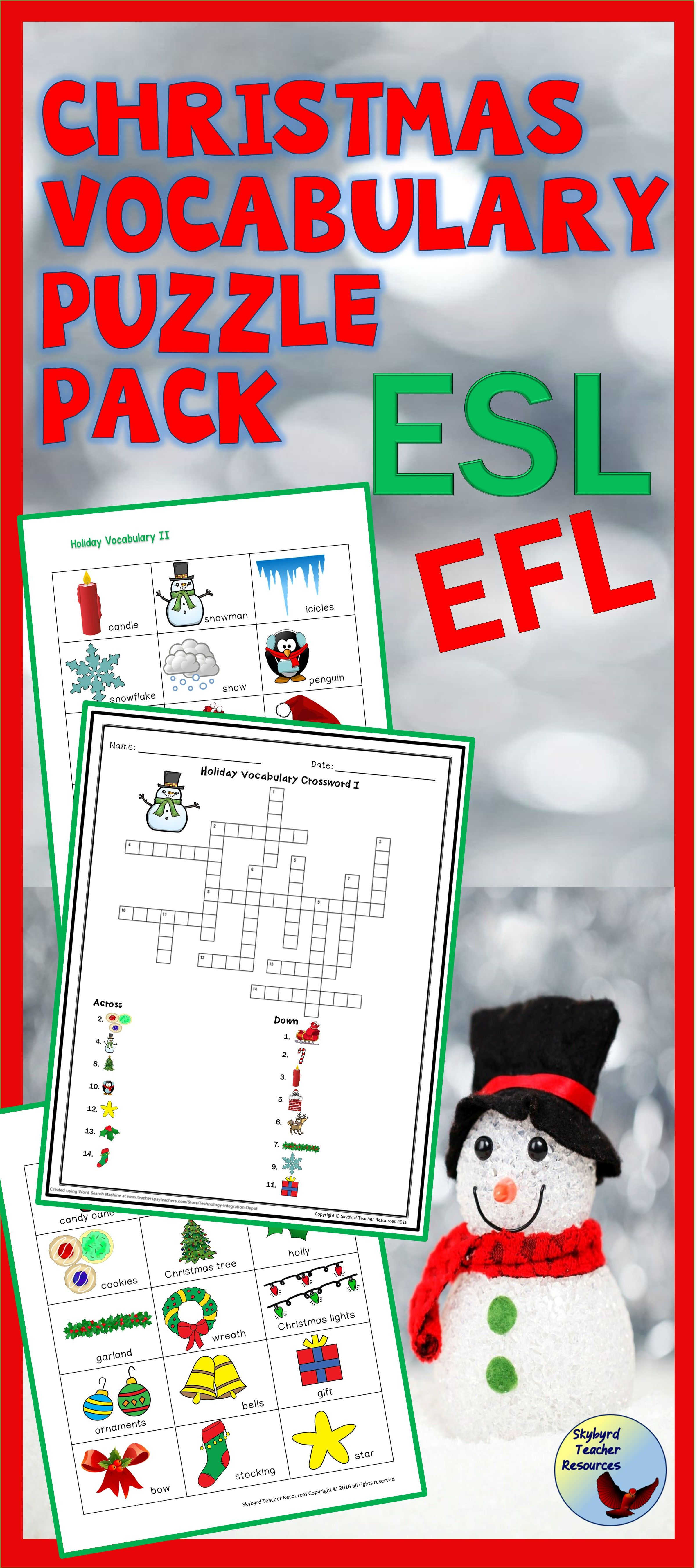 Esl Christmas Activities Vocabulary Puzzle Pack Enl Efl