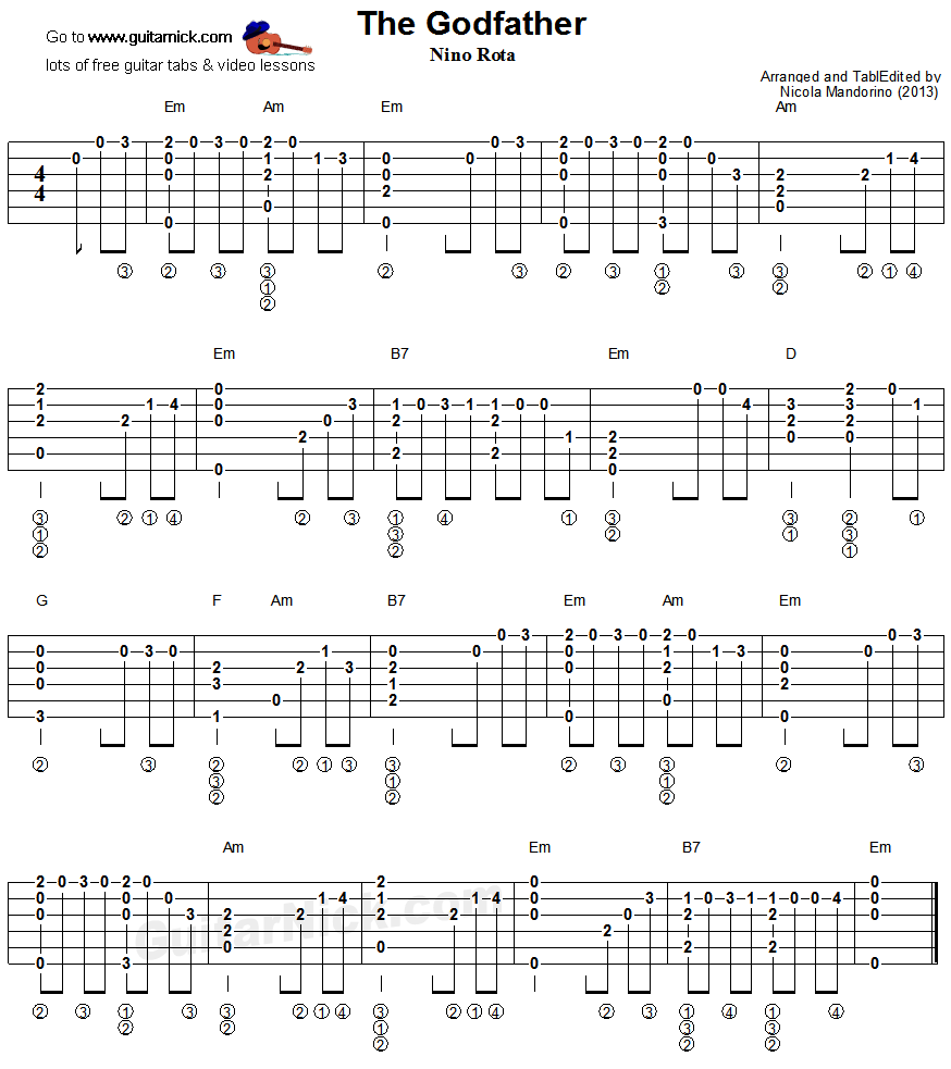 The Godfather Fingerstyle Guitar Tablature Guitars And Ukes