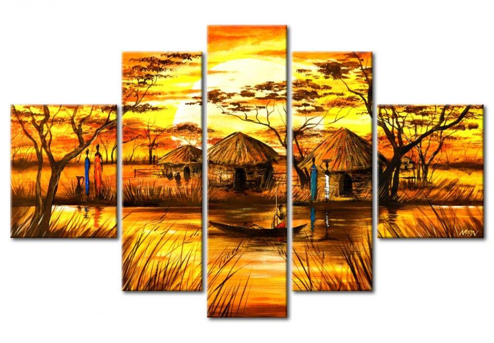 Aldea en frica lugares pinterest tr ptico cuadro abstractos y fotos en lienzo - Bimago cuadros modernos ...