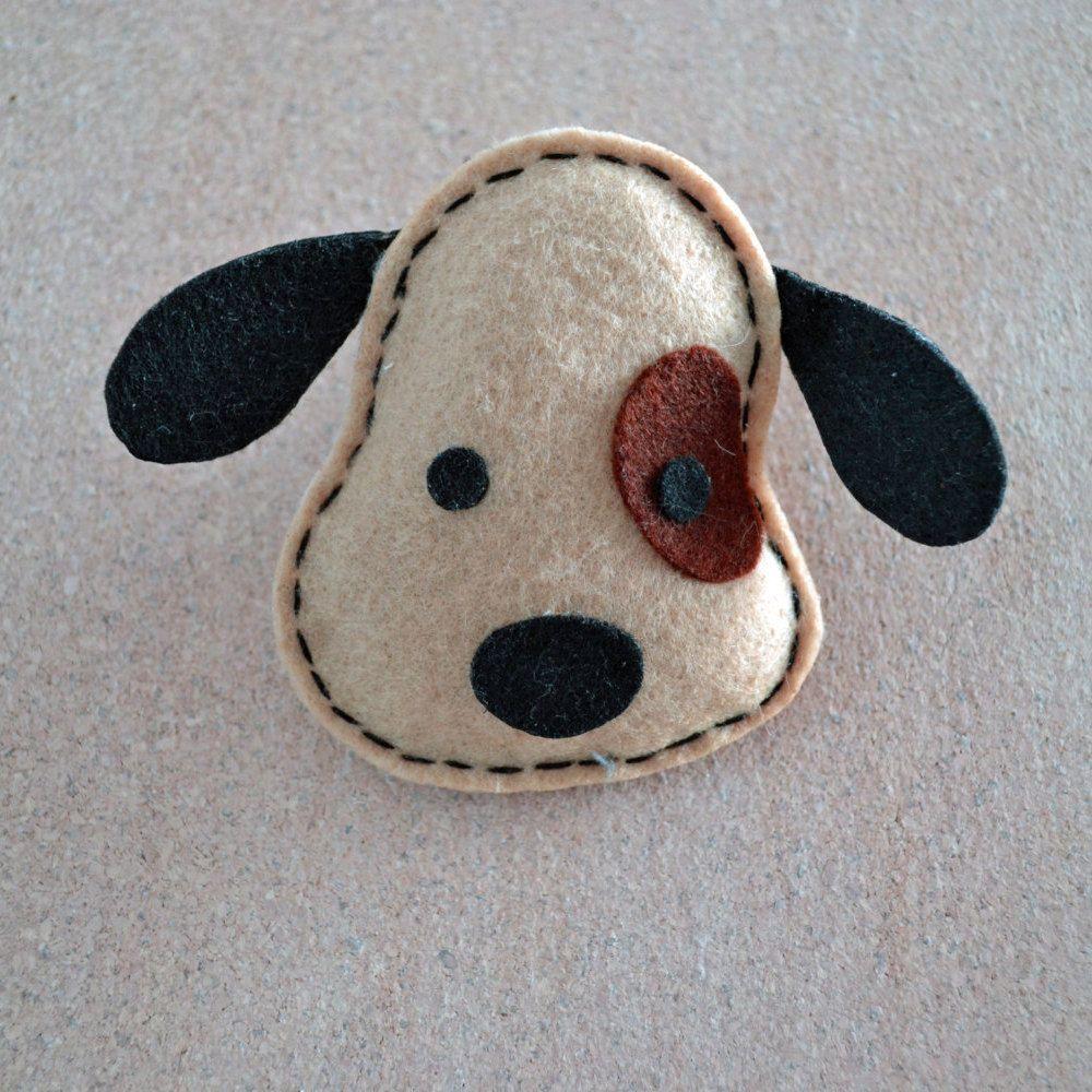 beige felt dog brooch pin accessory by thecraftyblackcat on etsy