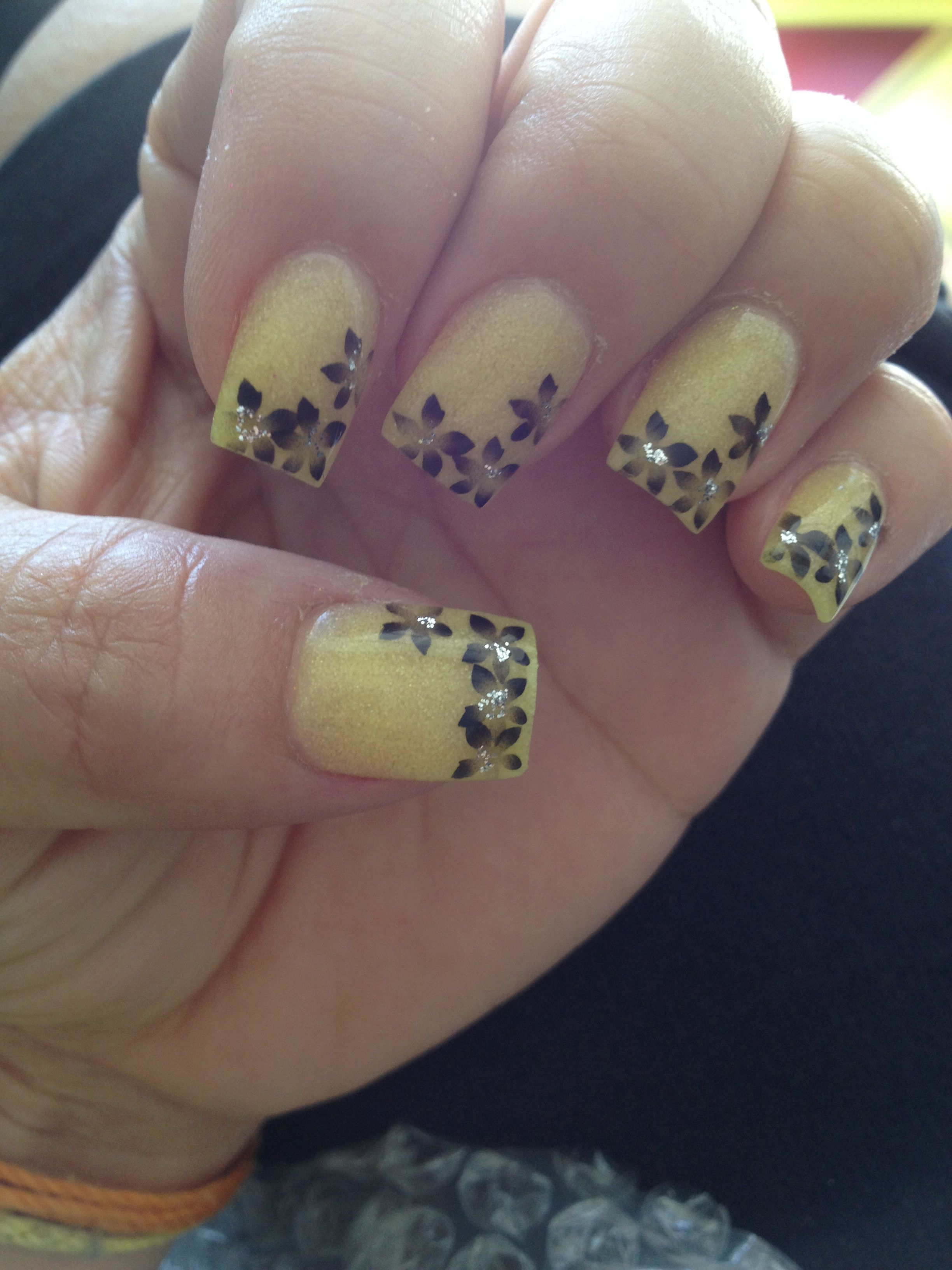 Yellow With Black Flowers Black Flowers Gold Nails Black Nails
