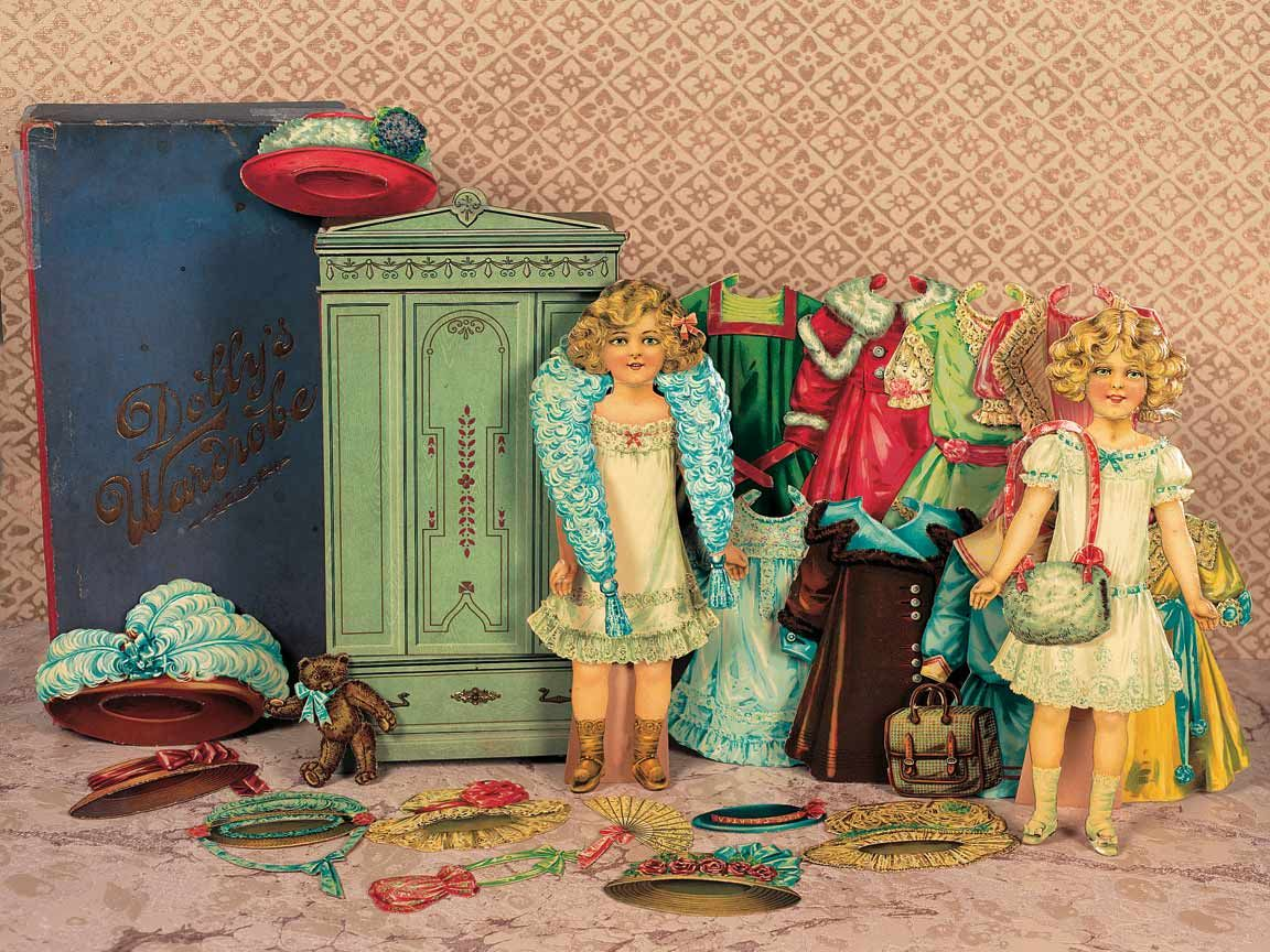 """Paper Dolls, 1790-1940 - The Collection of Shirley Fischer: 118 English """"Dolly's Wardrobe"""" Boxed Paper Doll Set by Spears"""