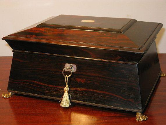 Antique Victorian Period Coromandel Sarcophagus Jewellery Casket Circa 1880 A Stunning Stylish Victorian Ladies Jewellery Box In Antiques Casket Jewelry Casket
