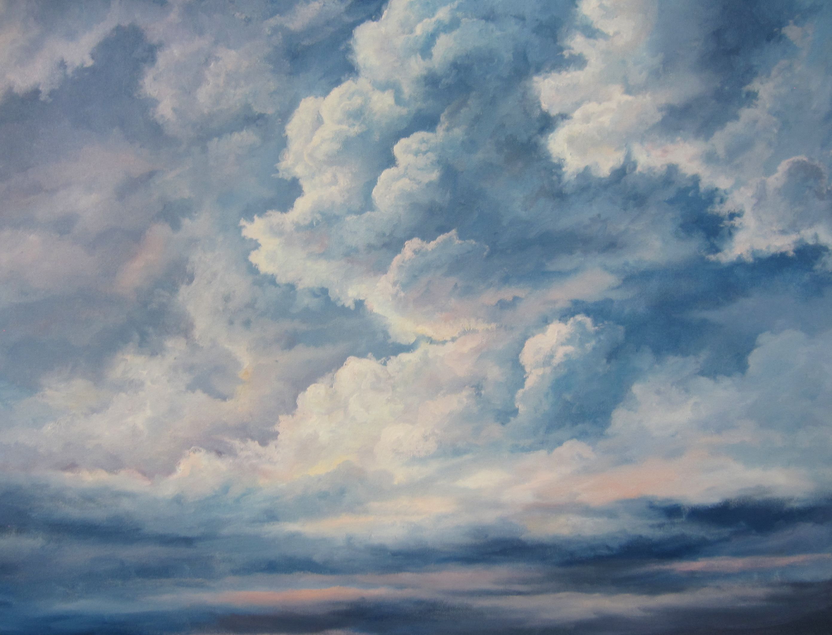 A Cloudy Sky Oil Painting By Kevin Hill Watch Short Oil Painting Lessons On Youtube Kevinoilpainting Sky Painting Oil Painting Lessons Oil Painting Flowers