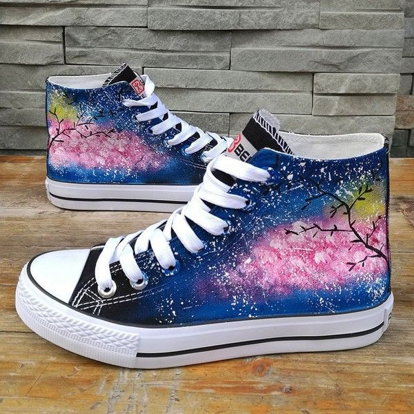 Harajuku cherry blossom galaxy hand-painted canvas shoes SE9484 ❤ liked on  Polyvore featuring shoes