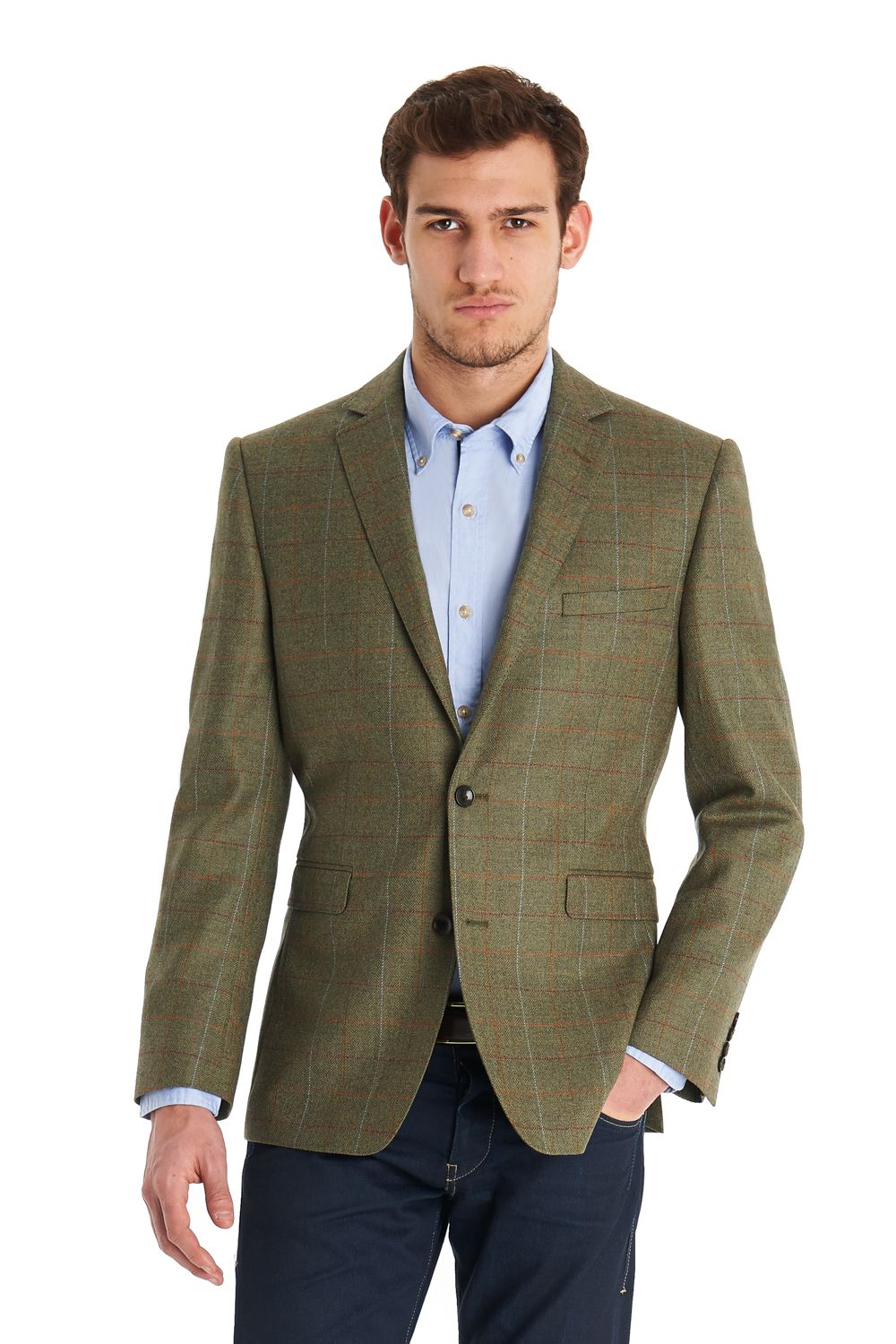 This men's Blazer tailored fit green multi check jacket is single ...