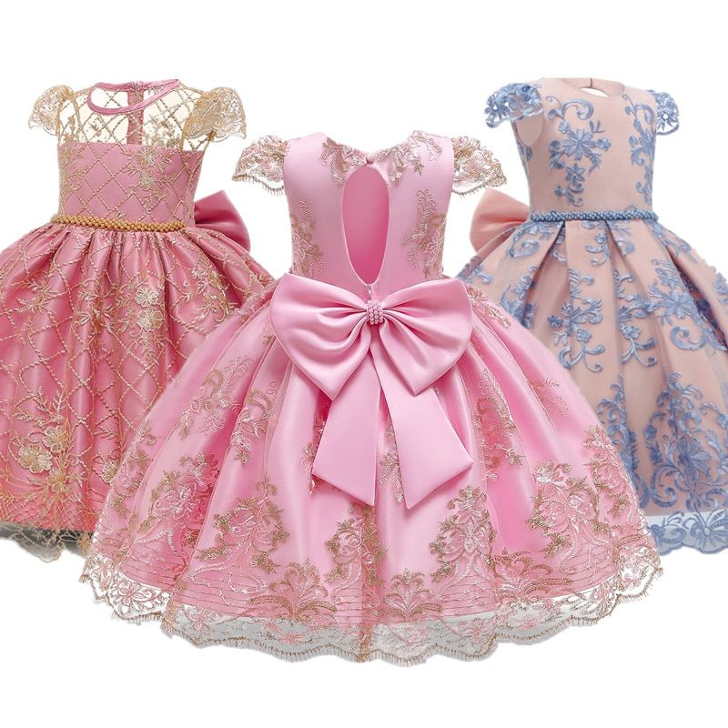 Girls Birthday Party Ball Gown Bridesmaid Formal Wedding Dress For Girls Floral Lace Backless Clothes Princess Frocks Dresses