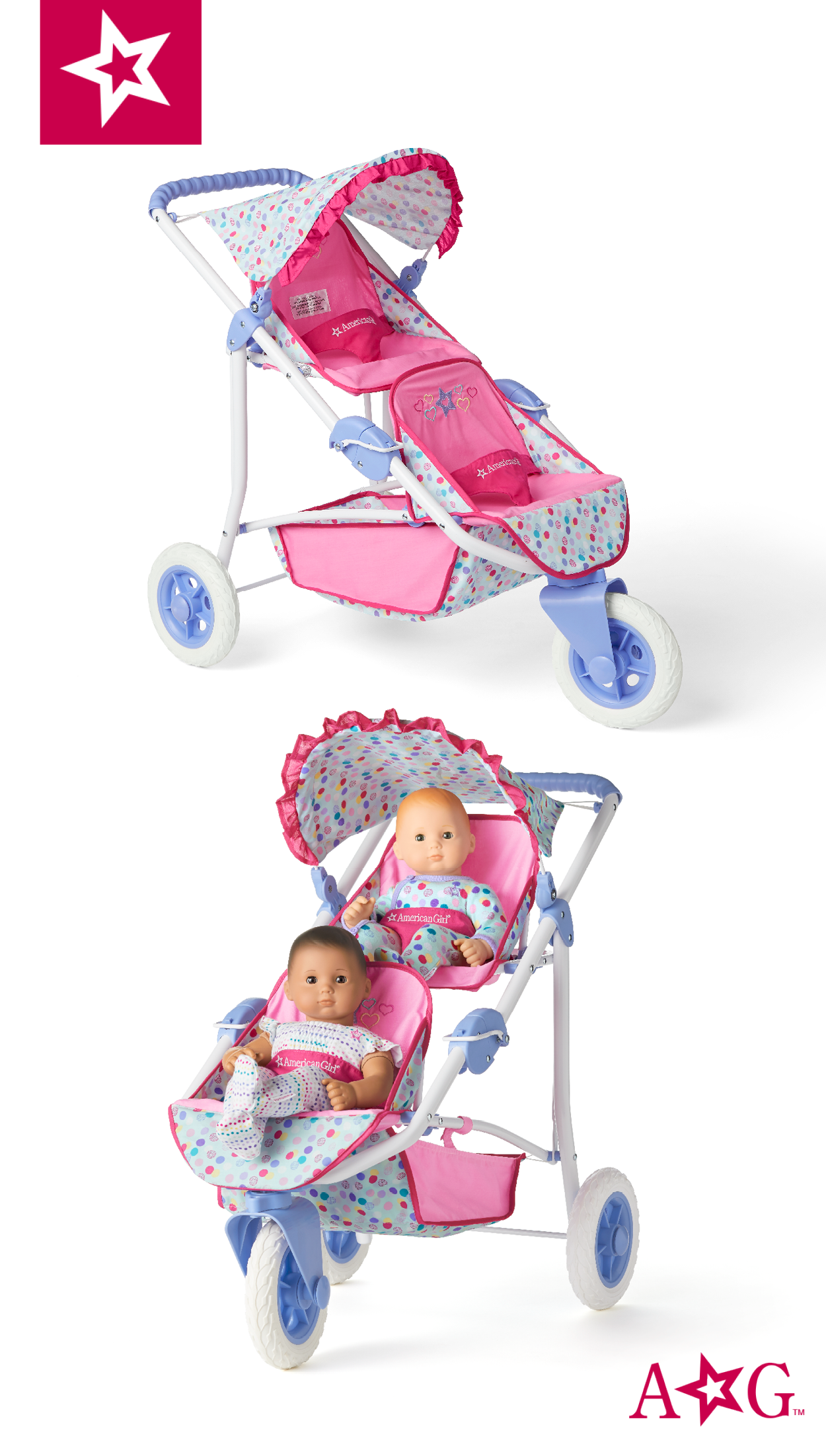 Double Stroller American girl, American girl doll