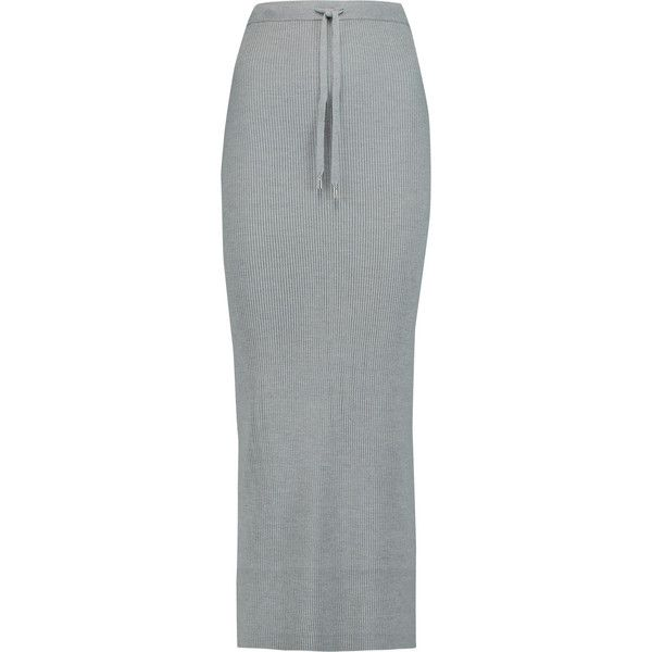 79880d4c6 T by Alexander Wang Ribbed merino wool maxi skirt ($170) ❤ liked on Polyvore