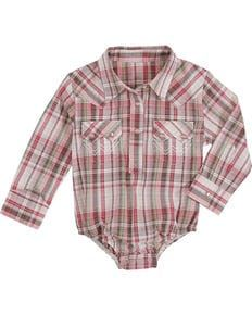 a70cbc12 Wrangler Infant Girls Pink Plaid Onesie , Pink | baby | Girls ...