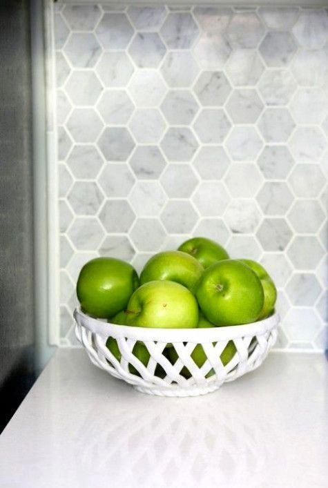 Best Apples In A Bowl Carrara Marble Hexagon Backsplash 400 x 300