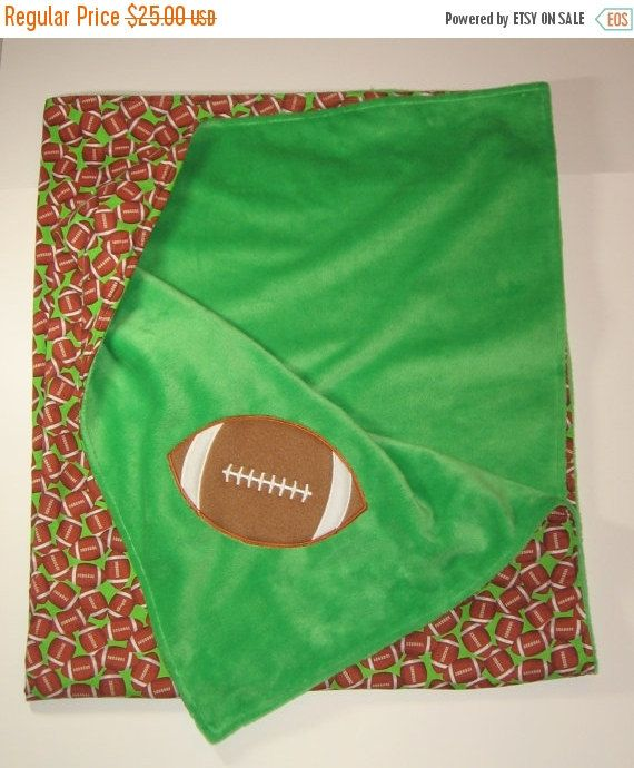 CLEARANCE SALE Large Baby Boy Blanket, Football Blanket, Minky Blanket, Lap Blanket, Baby Boy Shower Gift, 36 x 41, Toddler Blanket, RTS #babyblanket