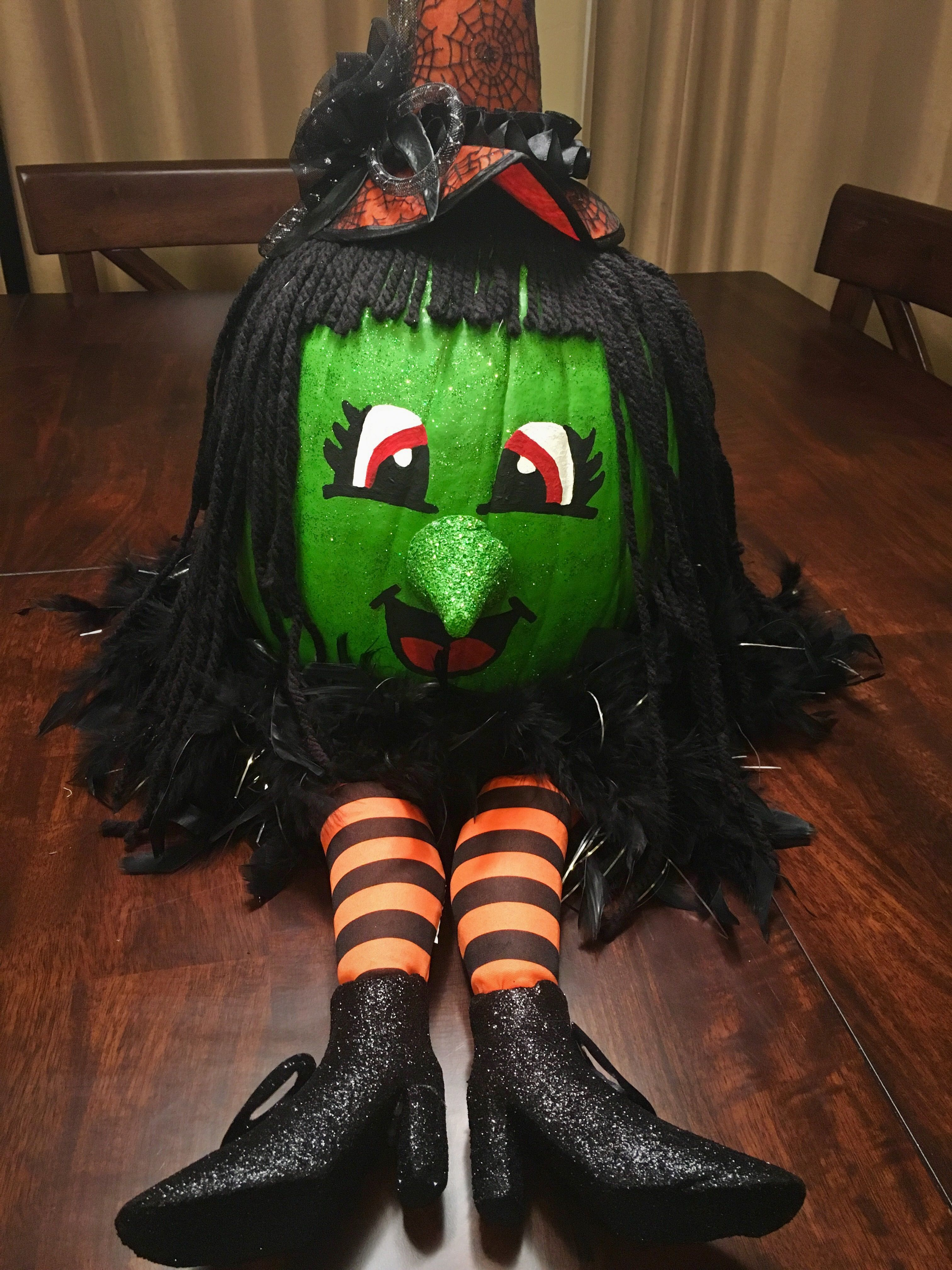 Pin By Nicole Falcon Boswell On Dress Up Costumes Halloween Pumpkins Painted Pumpkin Halloween Decorations Pumpkin Witch Face