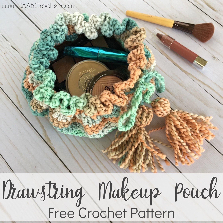 Drawstring Makeup Bag Crochet crafts, Crochet, Crochet