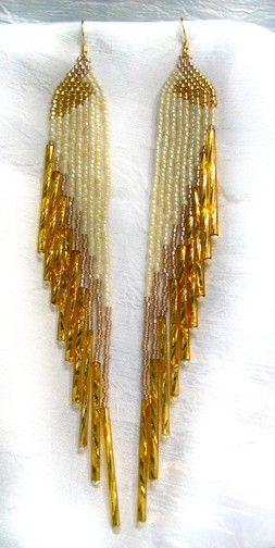 Gold and Cream Seed Beaded Earrings