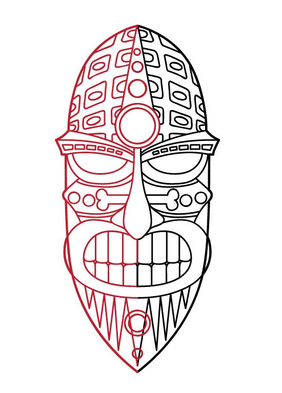 Wooden Tiki Head Drawing Tiki Mask Drawing | Ho...