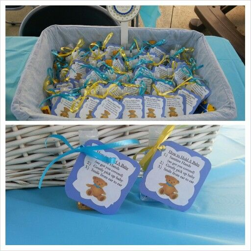 Lovely Baby Shower Hand Sanitizer Favors. UCLA Themed.