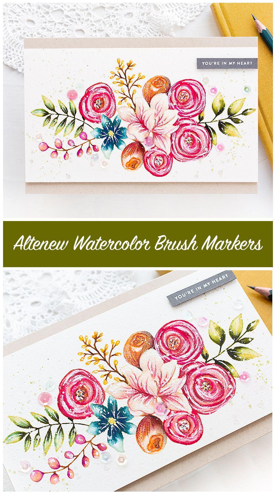 Video Altenew Watercolor Brush Markers Watercolor Cards