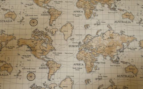 Fryetts world map natural designer curtain fabric roll 1199 fryetts world map natural designer curtain fabric roll 1199 metre sciox Gallery