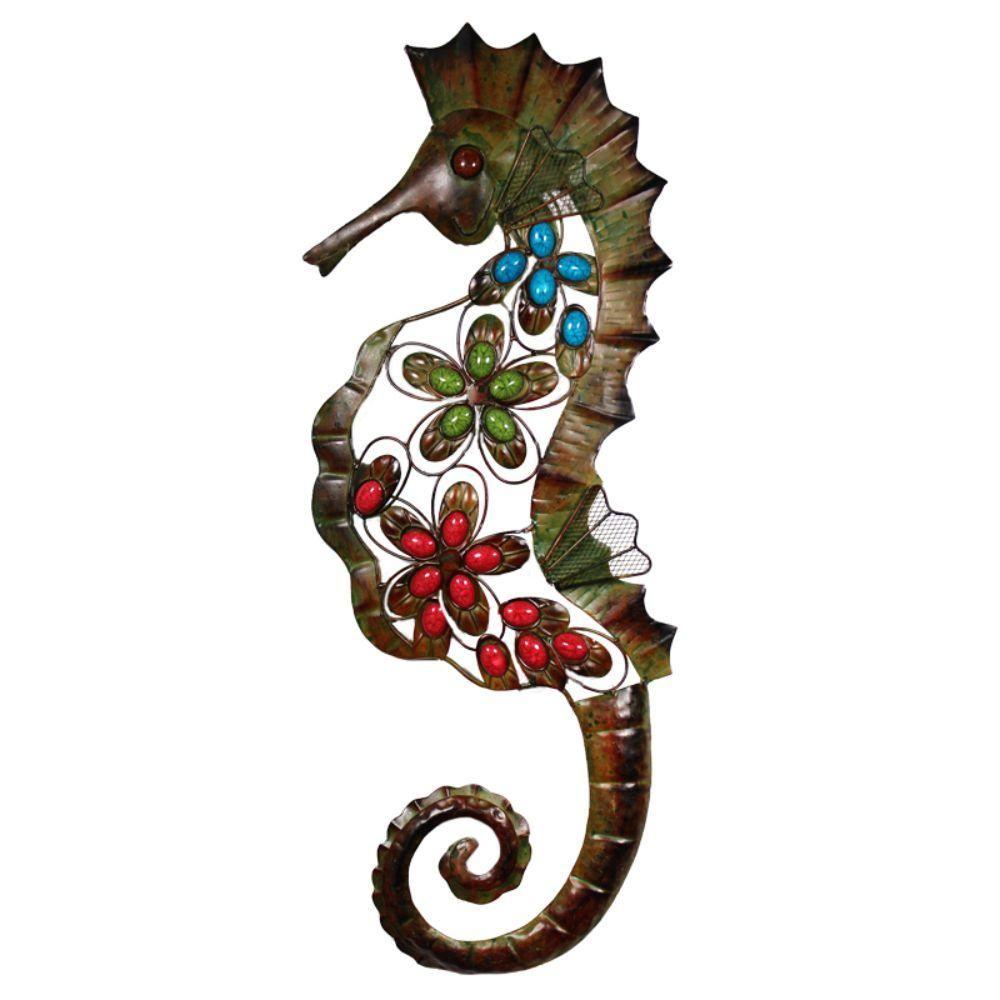 Benzara chic metal seahorse etden110116 metal seahorse