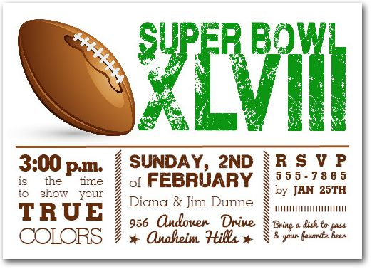 Football Super Bowl Invitations Super Bowl Xlviii Party
