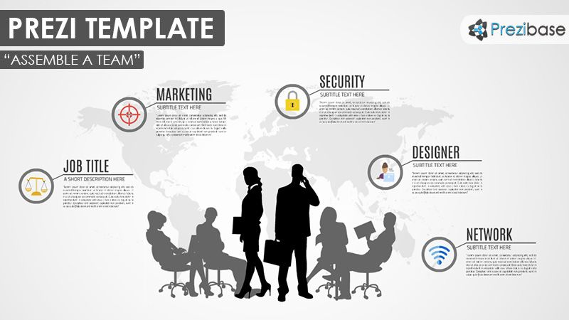 Business related prezi template with a team concept various business related prezi template with a team concept various businessman and woman silhouettes on a world map background present your existing companyteam maxwellsz