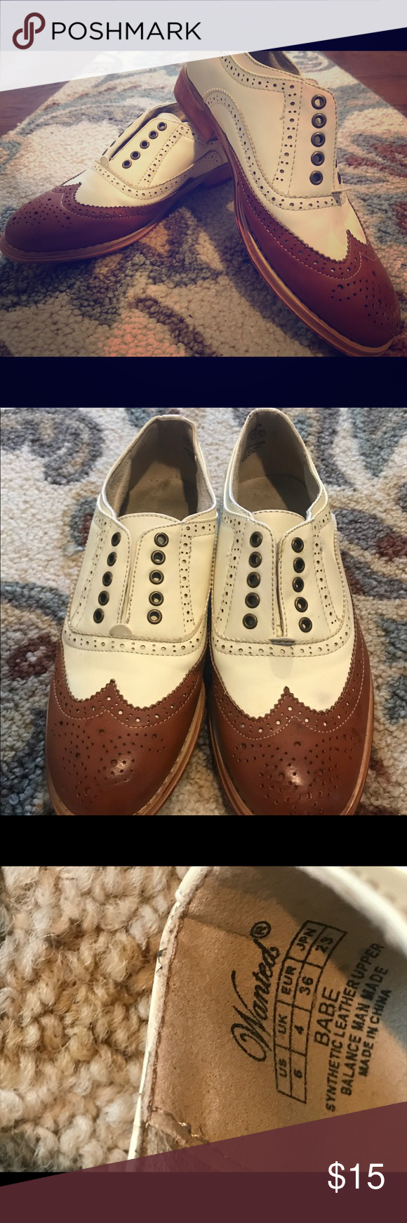 Light tan and beige Oxfords